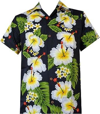 Camisa hawaiana para hombre con estampado de flores de hibisco para playa, fiesta, aloha campamento hawaiano para hombre - Negro - Medium: Amazon.es: Ropa y accesorios