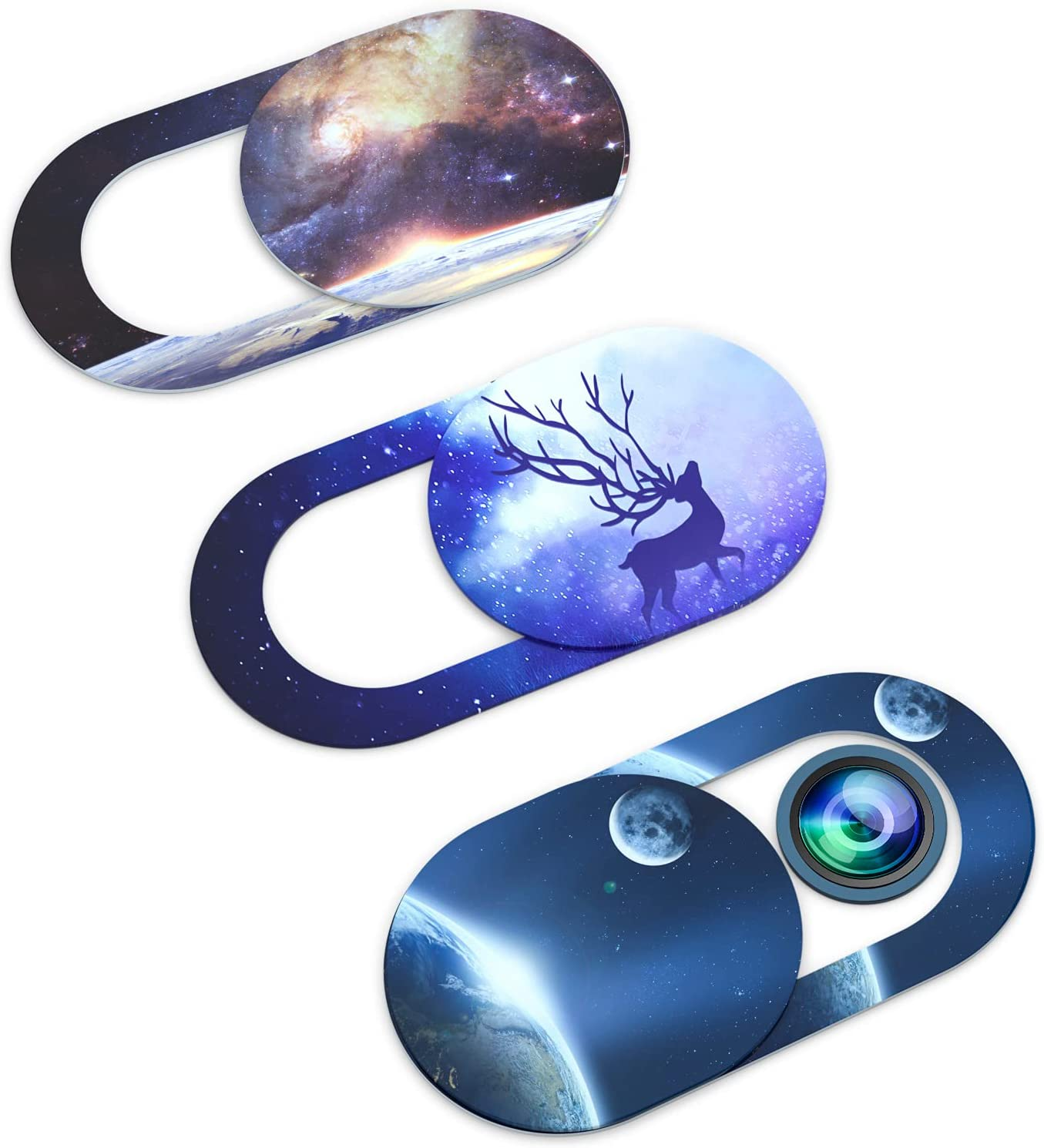 Webcam Covers, Web Mac Laptop Camera Cover Slide,Ultra Thin Webcam Blocker Fits MacBook Air Pro iPhone iPad,Mac Camera Blocker for Laptop Protect Your Privacy and Security (Starry Sky 3PCS)
