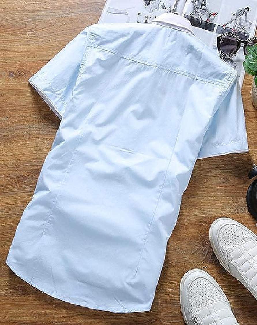 Lutratocro Mens Contrast Color Button Front Summer Short Sleeve Pure Color Shirt