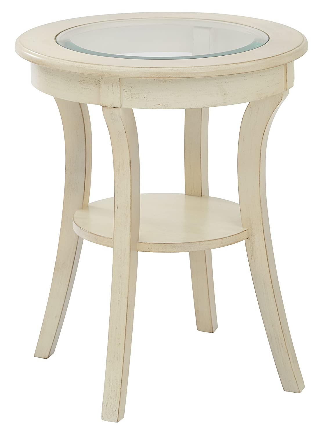 Amazon com office star harper hand painted round accent table with glass top antique white finish kitchen dining