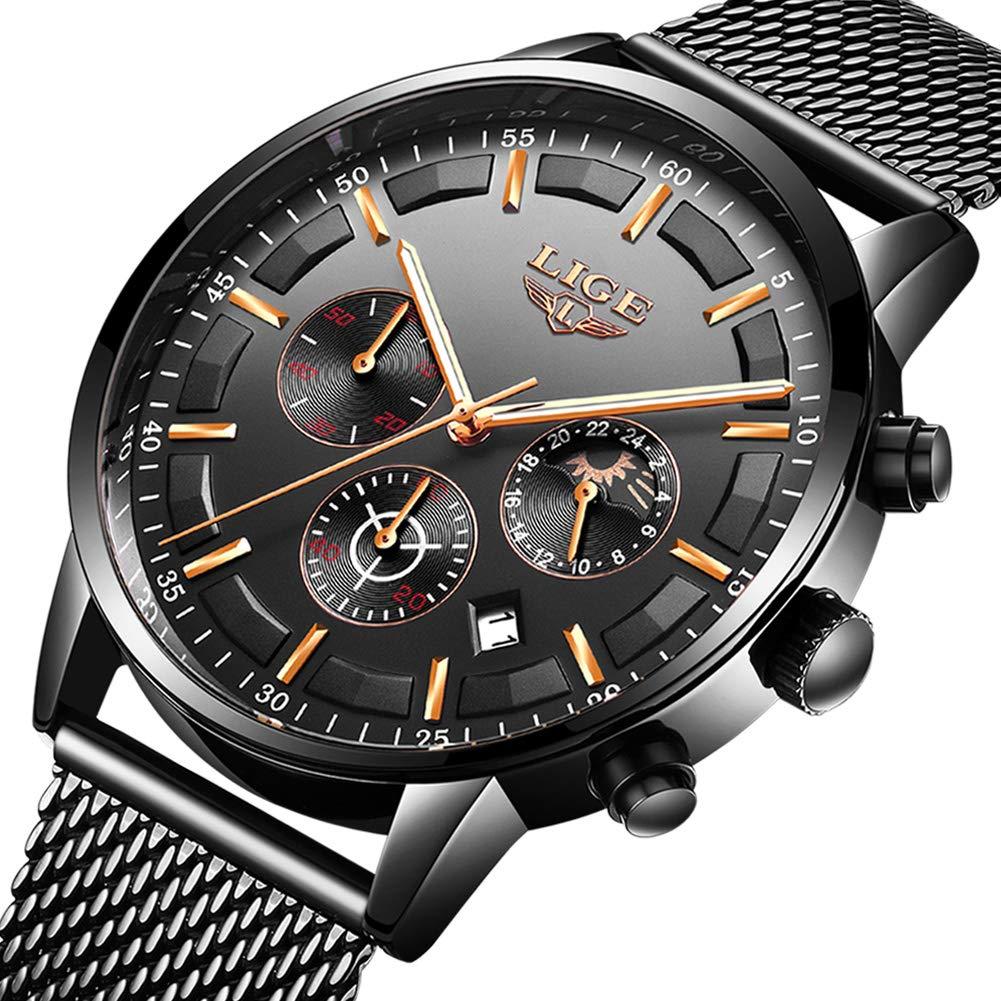 LIGE Relojes Hombre Moda Impermeable Cuarzo Analógico Reloj para Hombre Negocio de Lujo Vestido con Acero Inoxidable Negro Banda de Malla …