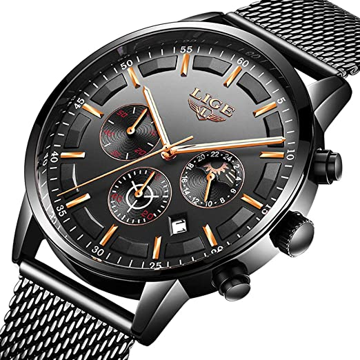 LIGE Relojes Hombre Moda Impermeable Cuarzo Analógico Reloj para Hombre Negocio de Lujo Vestido con Acero Inoxidable Negro Banda de Malla: Amazon.es: ...