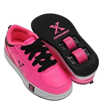Sidewalk Sport Kids Lane Girls Lace Up Flat Skate Wheeled Roller Shoes Pink UK 1