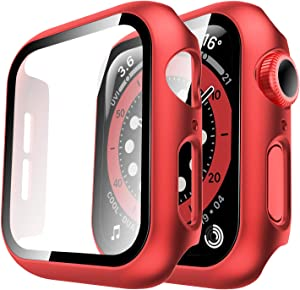 Tauri 2 Pack Hard Case Compatible for Apple Watch SE Series 6 5 4 44mm Built in 9H Tempered Glass Screen Protector Slim Bumper Touch Sensitive Full Protective Cover Compatible for iWatch 44mm - Red