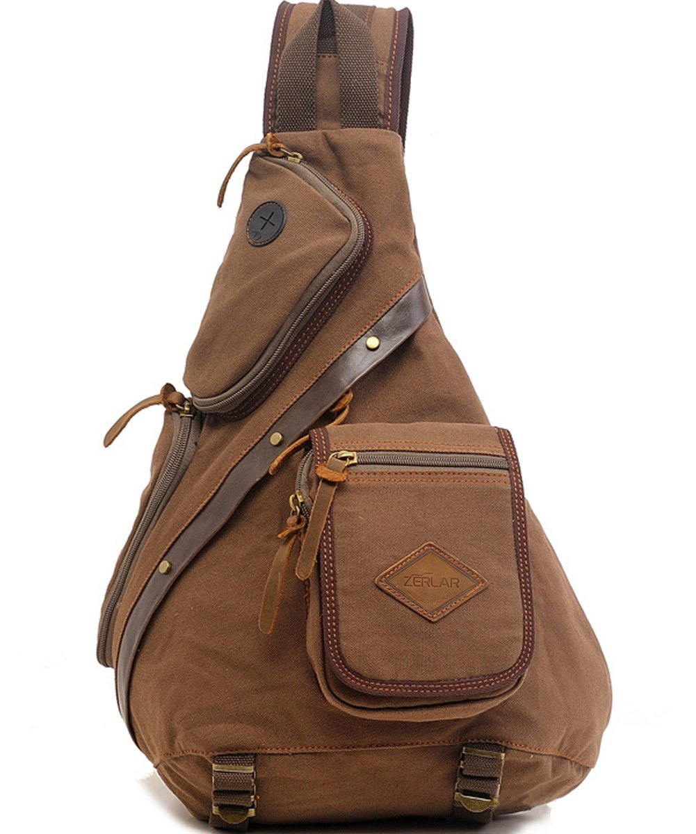 Zerlar Men's Chest Pack Crossbody Bag Vintage Canvas Shoulder Sling Bag Rucksack