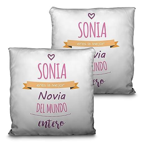 Lolapix Cojín San Valentín. Personalizado con Nombre. Varios tamaños y diseños. Regalo para Enamorados único, Original y Exclusivo. Mejor Chica