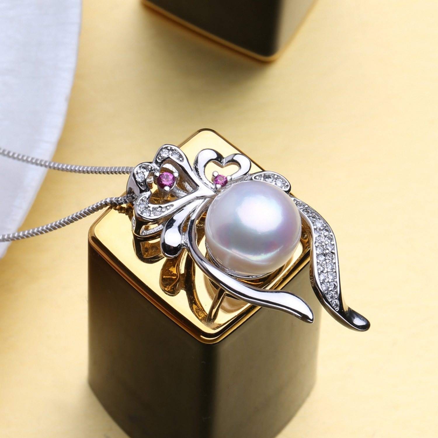 CS-DB Jewelry Silver Ruby Pearl Flower Chain Charm Pendants Necklaces