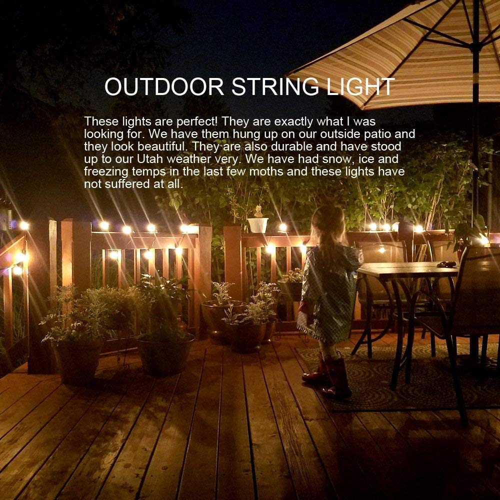 Amazon.com : Goothy 20Ft Outdoor Patio String Lights, Set Of 20 Glass ST40  Edison Style Bulb String Lights Garden/Backyard Party/Wedding Indoor String  ...