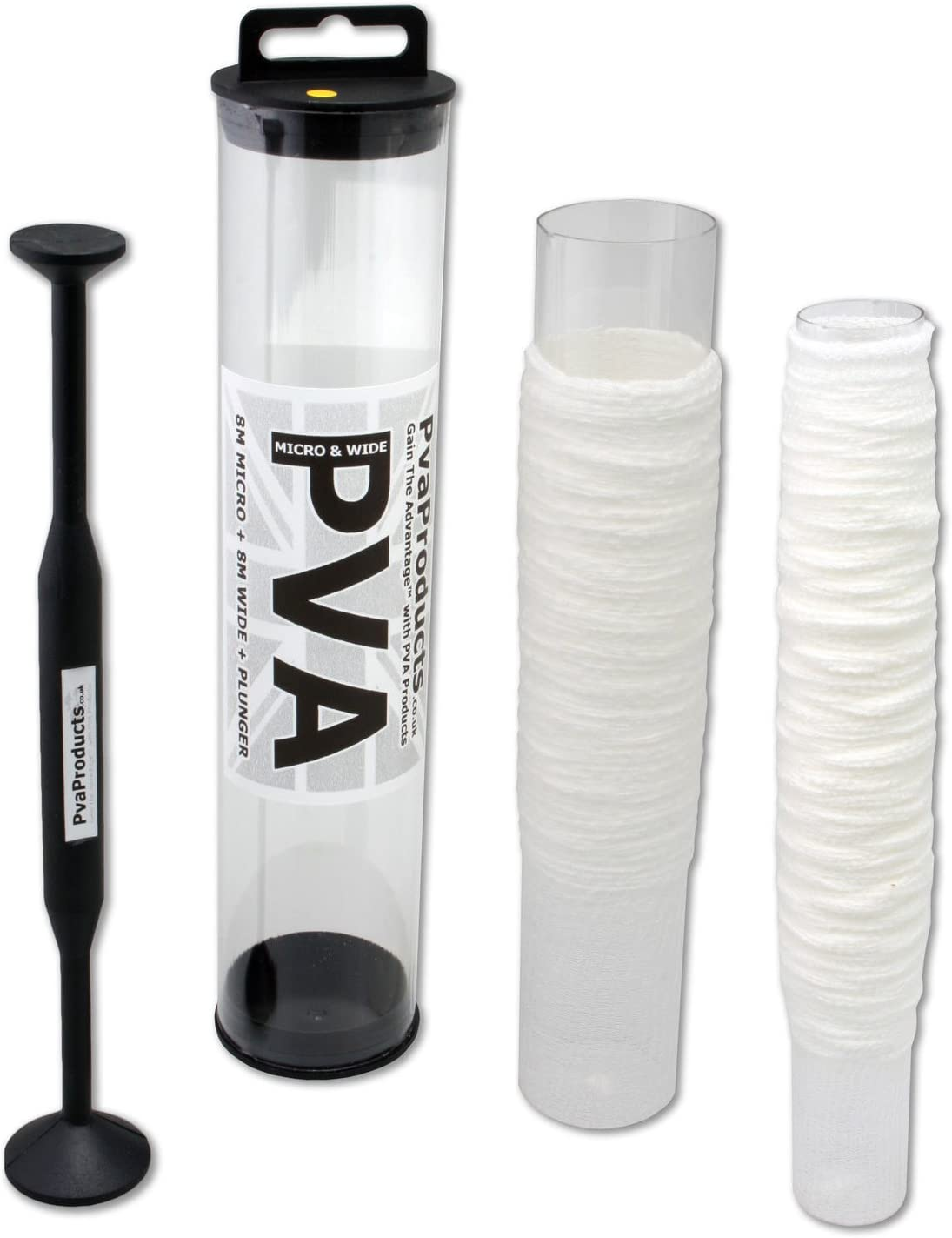 25mm narrow PVA micro mesh 8 metres on a tube includes plunger