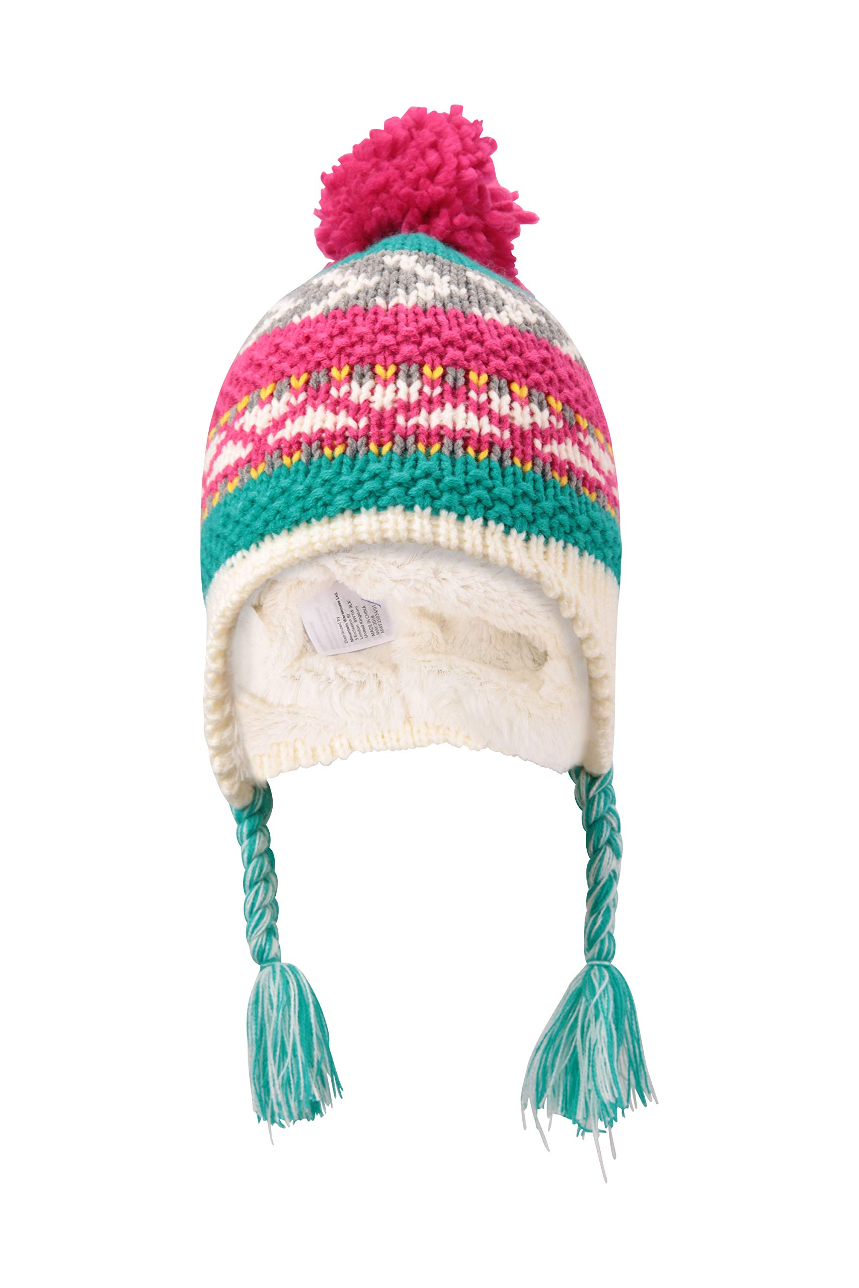 Mountain Warehouse Patterned Stripe Knit Kids Hat Teal
