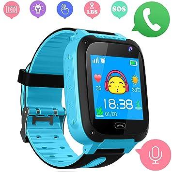 Niños Smart Watch Phone - LBS Tracker Smartwatch para niños de 3-12 para niños y niñas SOS Camera Anti-Juego perdido para Tarjeta SIM Juego de ...