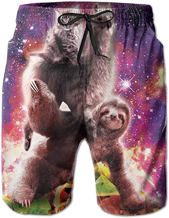 Mens Swim Trunks Quick Dry Beach Board Shorts Llama Outer Space Cat Bathing Suits with Pockets