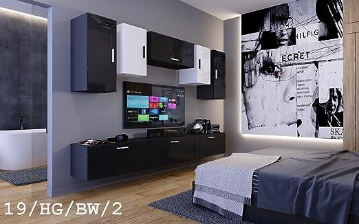 HomeDirectLTD Moderno Conjunto de Muebles de salón Future 19, Muebles para Sala de Estar, Modernos Muebles modulares con Iluminación LED Opcional (19_HG_BW_2, LED Azul): Amazon.es: Hogar