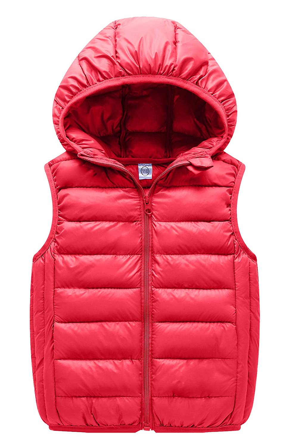 Happy Cherry Kids Down Vest Thin Hooded Zipper Up Sleeveless Jacket 3-8T