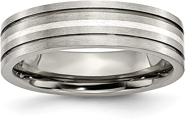 Titanium Sterling Silver Inlay 6mm Brushed Band