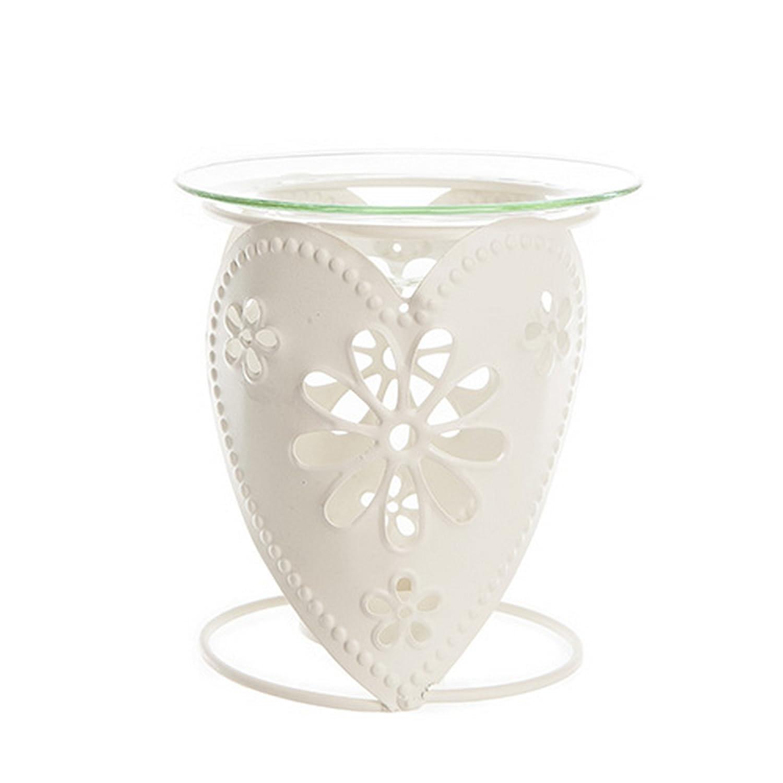 West5Products Cream Metal Heart Design Incense & Fragrance Oil Burner