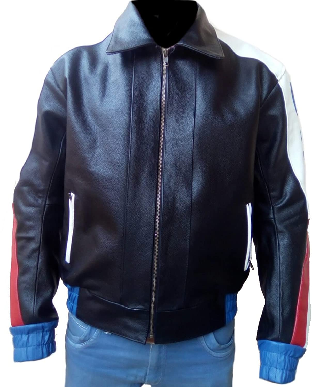 Men's Real Leather Biker Jacket with USA Flag Black