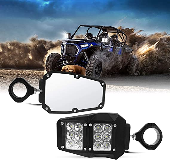 LTGJJ Utv Mirror,UTV Side View Mirrors Adjustable With 1.75 Or 2 Roll Bar Cage UTV Side Mirror Set Motorcycle Accessories For Yam-aha Rh-ino YXZ Hon-da Pion-eer 1000 Pol-aris RZR 800