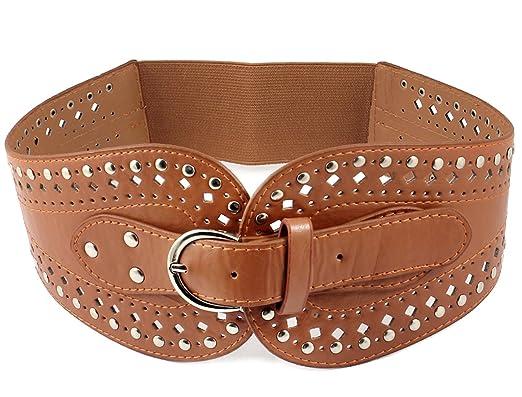 611364ff8 Lady Dress Matching Single Pin Buckle Brown Stretchy Waist Cinch Belt:  Amazon.co.uk: Clothing