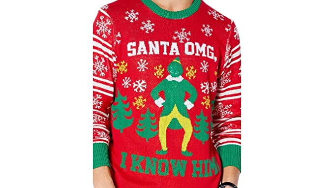 211b32bd87 Elf Movie Ugly Christmas Sweater Santa OMG I Know Him Red Seasonal Holiday  Wear for Men