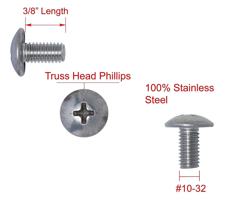 500 Phillips Truss Head 10-32 x 1-1//2 Machine Screws #10 Zinc