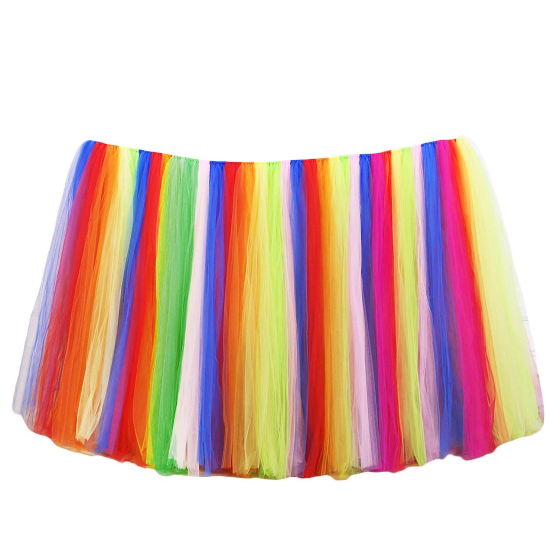 Tulle tutu tabla falda, tul tutú mesa falda de la tabla de tela para la boda fiesta de Navidad bebé de la ducha cumpleaños mesa pastel (100 x 80 cm, Blanco) Gosear