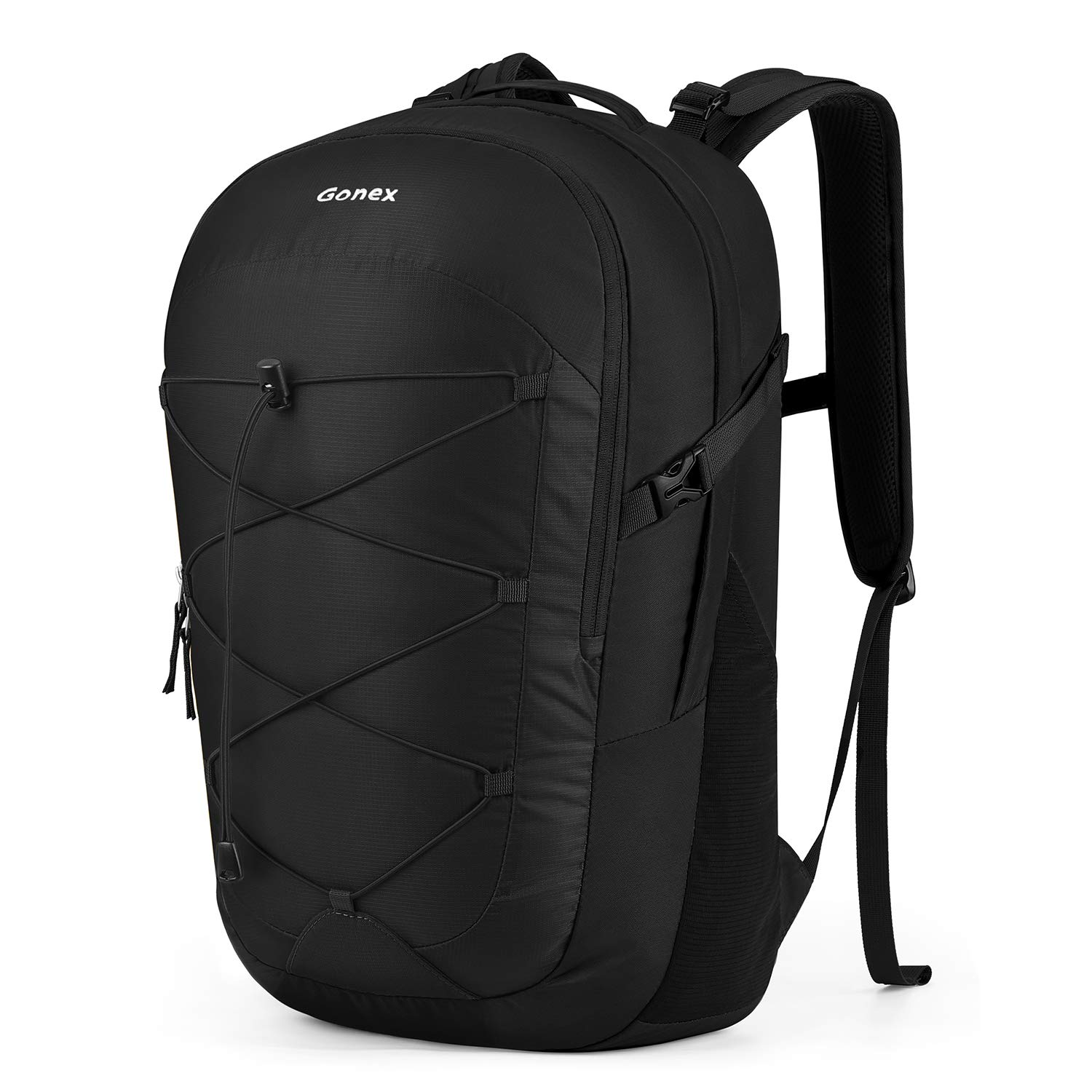Gonex Travel Laptop Backpack, 35L Casual Daypack College School Computer Bookbag for Women Men for Work Office School Business Trip Travel Camping Hiking Outdoor Fits 15 Inch Laptop Black
