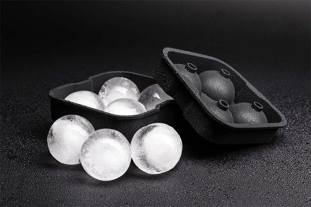 Eiskugel Ice Ball Mold Silikon-Eisw/ürfelform Sphere Silikon-Eis-Maker Eisw/ürfelform Eisform Jooks Eiskugelform f/ür 4 Eiskugeln mit 4,5 cm Durchmesser aus Silikon