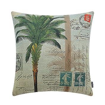 Amazon.com: Funda de cojín de lino con estampado de palmera ...
