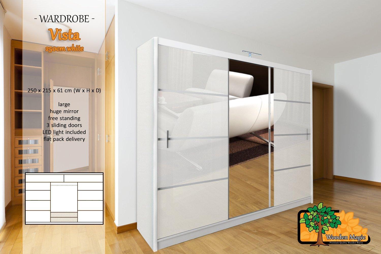 Vista White 250cm Sturdy Free Standing Wooden Sliding Door Wardrobe