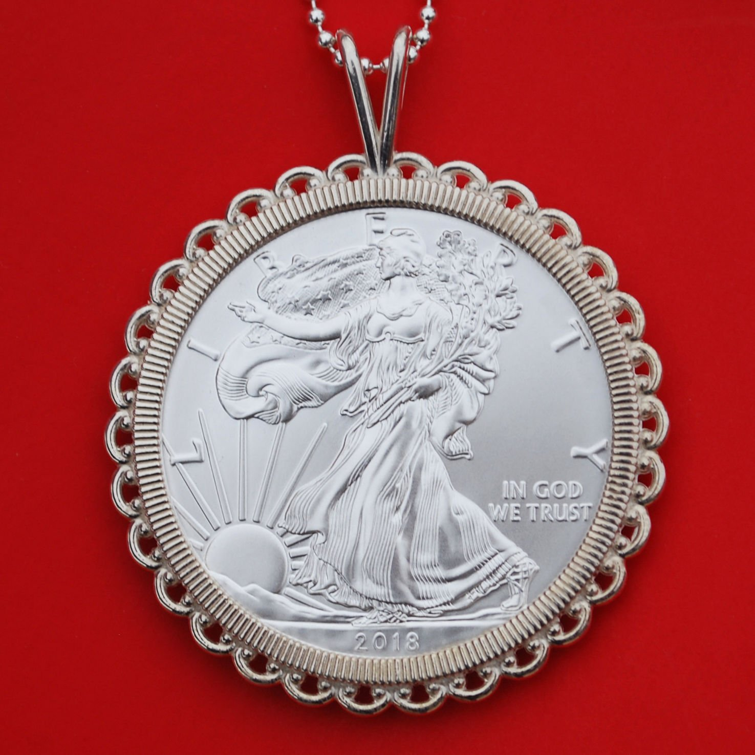 999 PURE STERLING SILVER 1 OZ AMERICAN EAGLE COIN CHARM PENDENT FREE SHIPPING