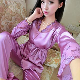 Boxer Briefs Women Soft Sleepwear Long Sleeve Satin Pyjamas Set with Pants Nightwear (Color : C, Size : L)
