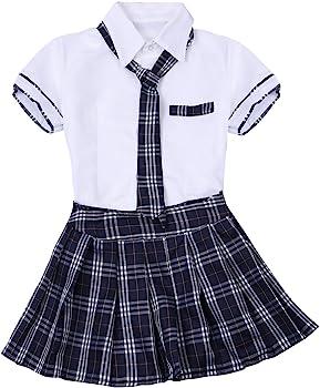 CHICTRY Sexy Uniforme Colegiala Mujer Atractiva Escolar Disfraz de Japonesa Coreano Británico Conjunto Lencería Camiseta Mini Falda Corbata Blanco S: Amazon.es: Ropa y accesorios