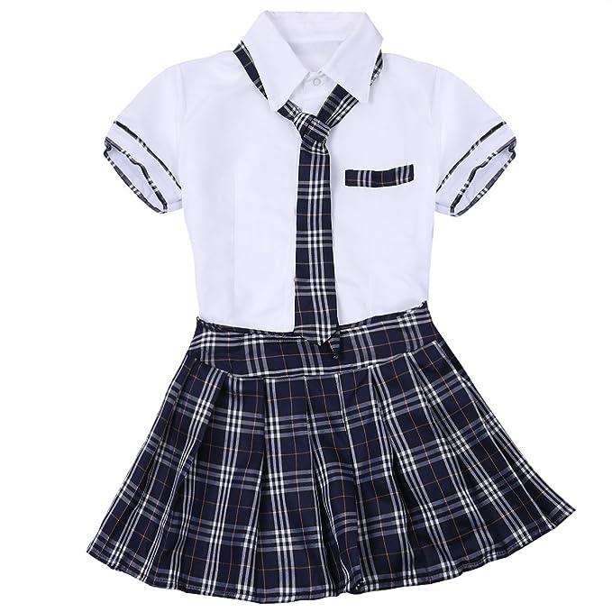 84feb0b18 TiaoBug 3Pcs Mujeres Chica Uniforme Escolar Universitario Disfraz Erótico  Chica Japonesa Coreana Camiseta con Corbata Falda Escocesa Sexy Cosplay