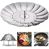 """IHOVEN Vegetable Steamer - 5.3"""" to 9.3""""- 100% Stainless Steel Foldable Food Vegetable Steamers Basket Kitchen Cooking Veggie Collapsible Insert Healthy Adjustable Steamer With Feet"""