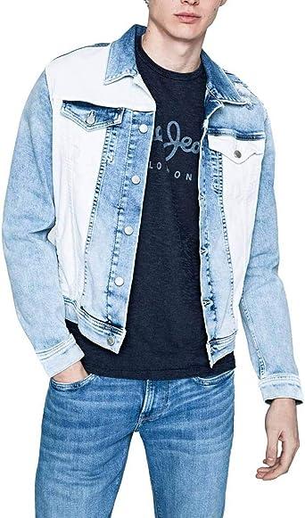 Cazadora Pepe Jeans Evan Mix AzulBlanco Hombre XS Azul