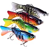 """PLUSINNO Bass Fishing Lures, Swim Baits Lures for Bass, 4""""/7 Segment, Multi Jointed Swimbaits Bass Smasher 3D Eyes Slow…"""