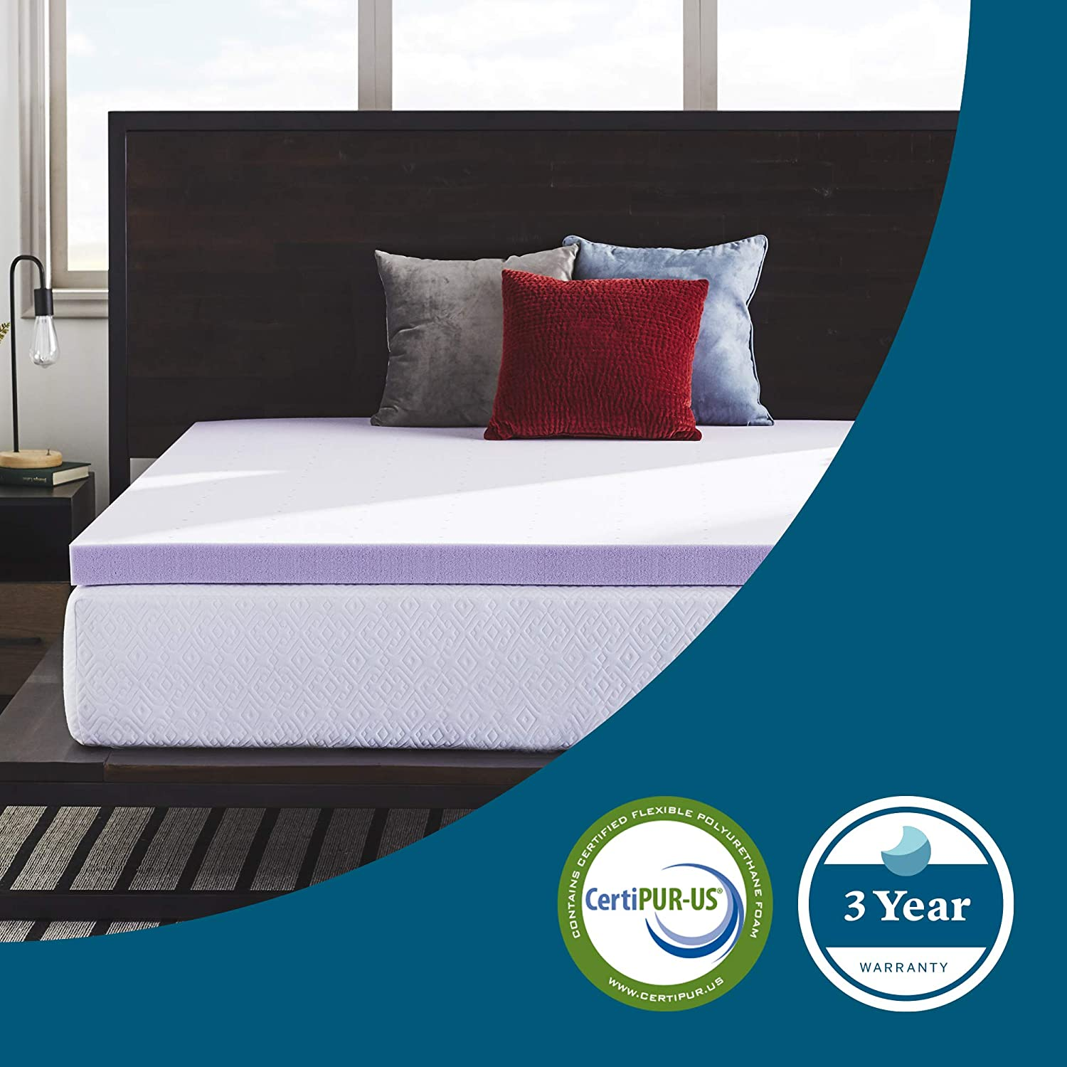 LUCID 3 Inch Lavender Infused Memory Foam Mattress Topper - Ventilated Design - Full Size: Home & Kitchen