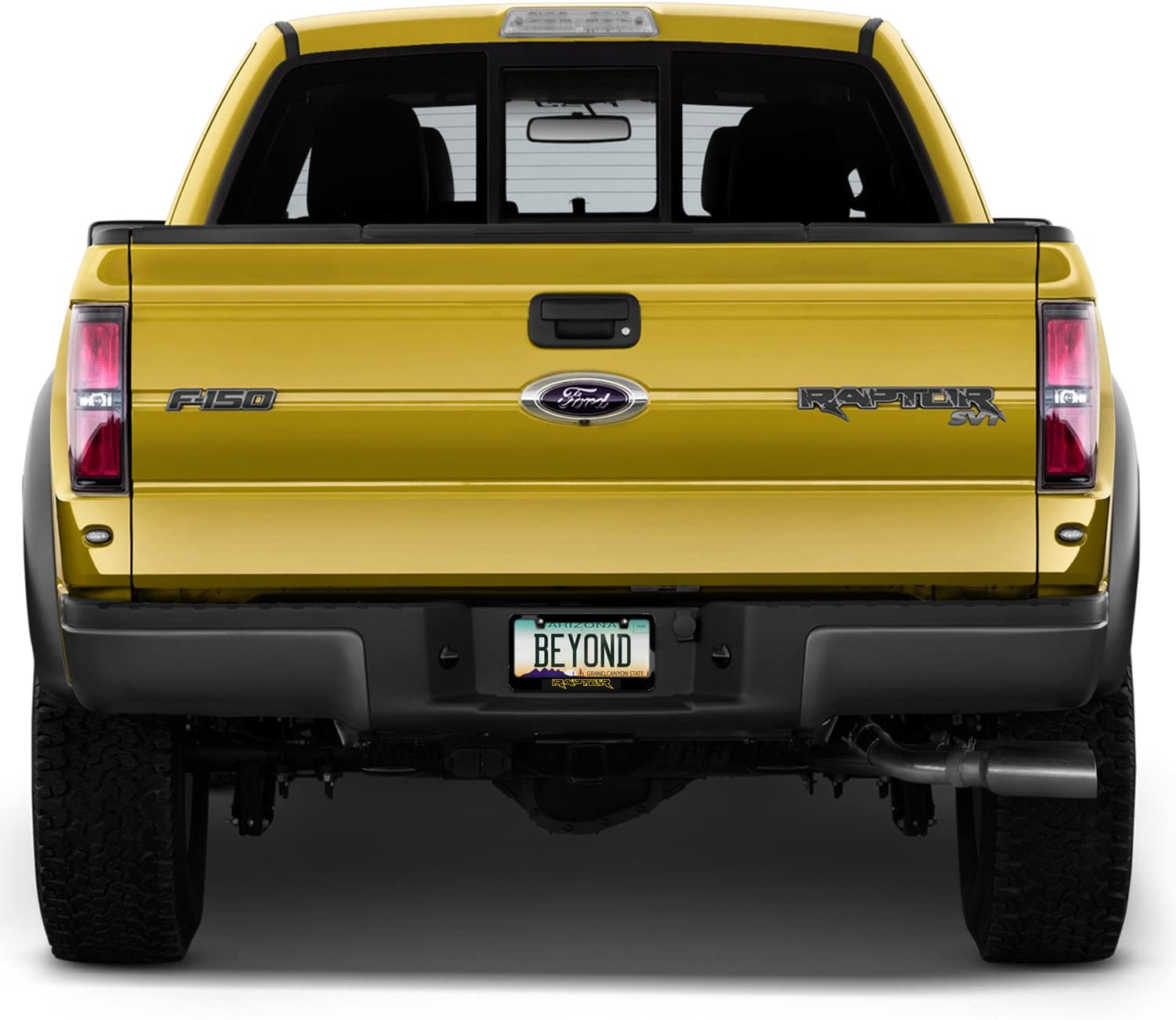 Yellow RAPTOR Ford F-150 Stainless Steel Black License Plate Frame W// Bolt Caps