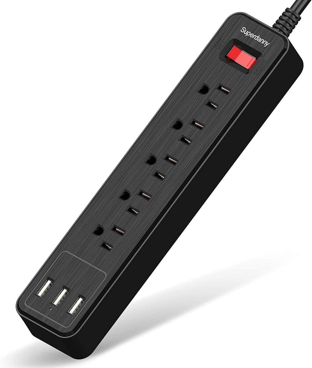 USB Surge Protector Power Strip Mountable Extension Cord Fire Proof Multiple Protection 5 Outlet 3 USB Port with Hook & Loop Fastener for iPhone iPad PC Home Office Travel Black SUPERDANNY