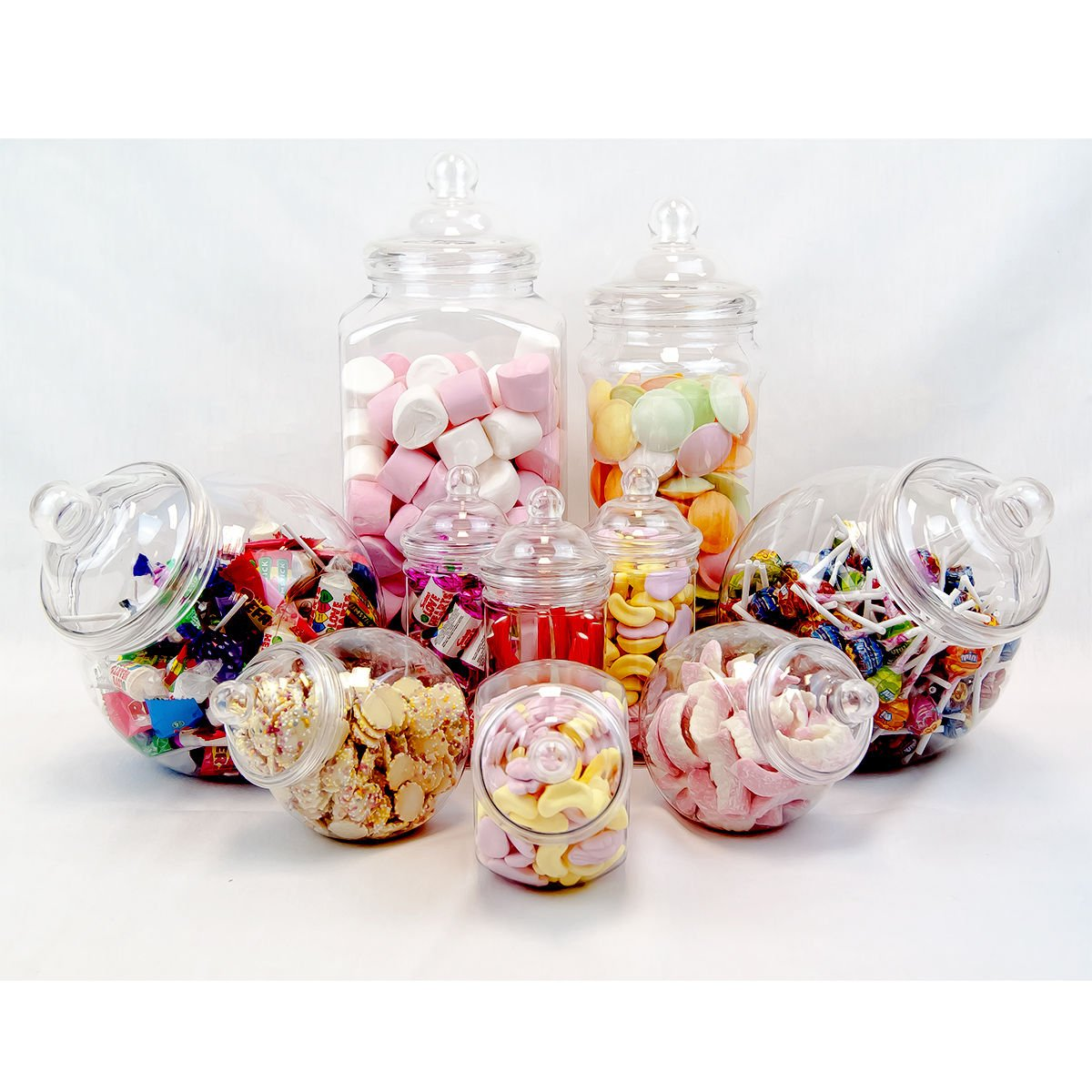 Amazon 10 pc candy buffet set plastic candy jars candy amazon 10 pc candy buffet set plastic candy jars candy containers sweets jars for wedding or kids party toys games reviewsmspy