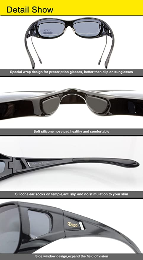 94bfd38c7f Duco Unisex Wear Over Prescription Glasses Rx Glasses Polarized Sunglasses  8955 Black  Amazon.co.uk  Clothing
