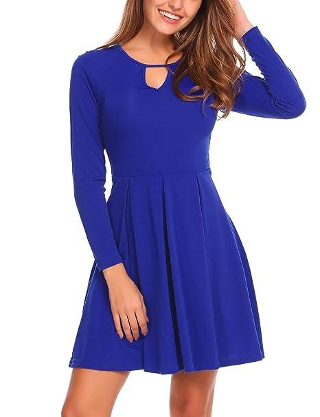 ELESOL Women s Cute Long Sleeve Fit and Flare A Line Pleated Swing Mini  Dress Blue S f435db0c2