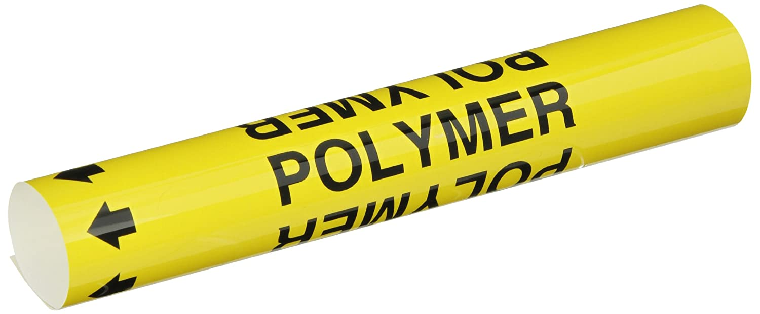 Brady 5740-O High Performance B-689 Legend Polymer Wrap Around Pipe Marker Black On Yellow Pvf Over-Laminated Polyester
