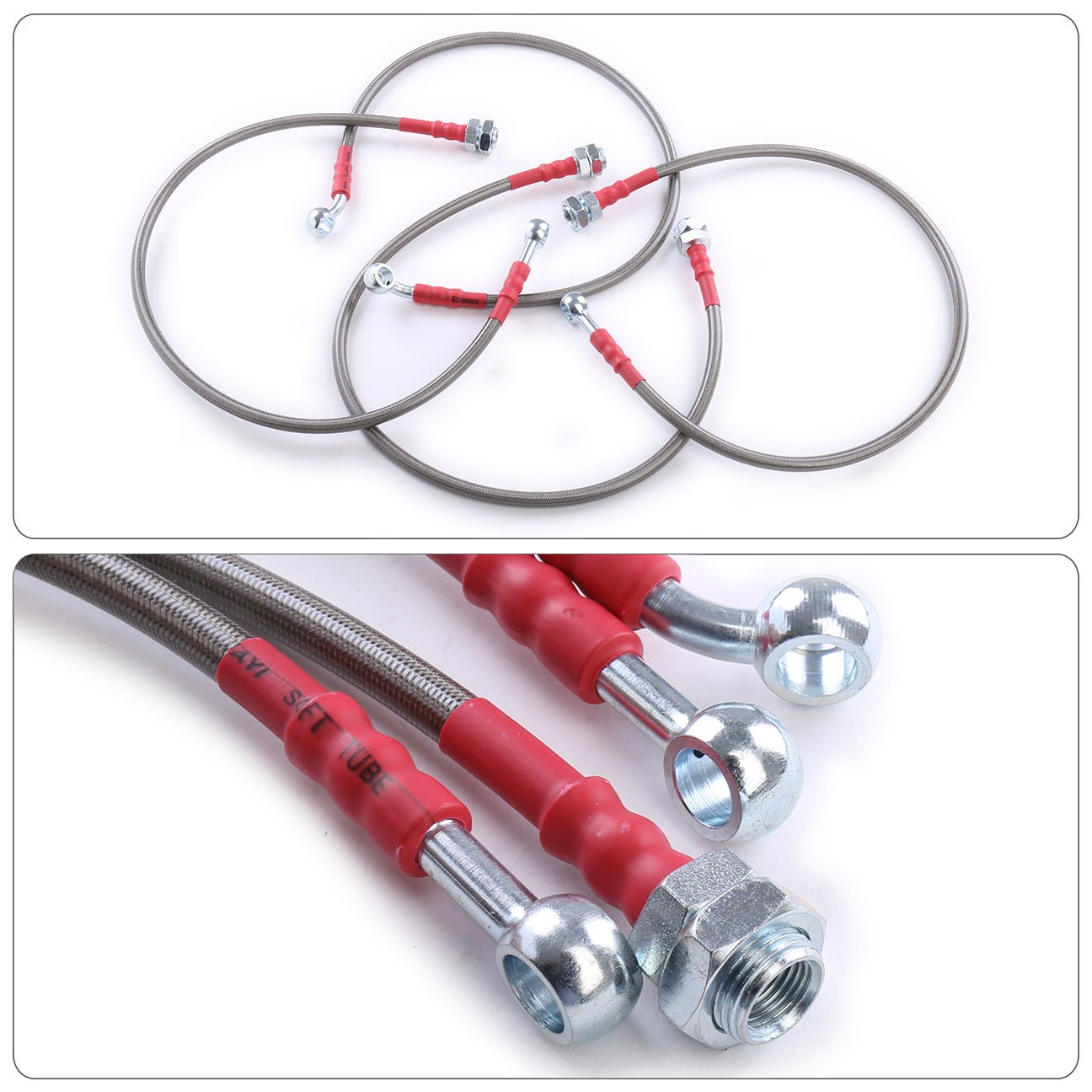For Honda Civic EM2 ES1 ES2 Front Rear Stainless Steel Braided Oil Brake Line Cable Hose Red End Cap