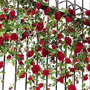 YILIYAJIA Artificial Rose Flower Garland Bridal Wedding Decoration Craft Flannelette Velvet Flowers for Home and Wedding Decor(1 Pack) 1