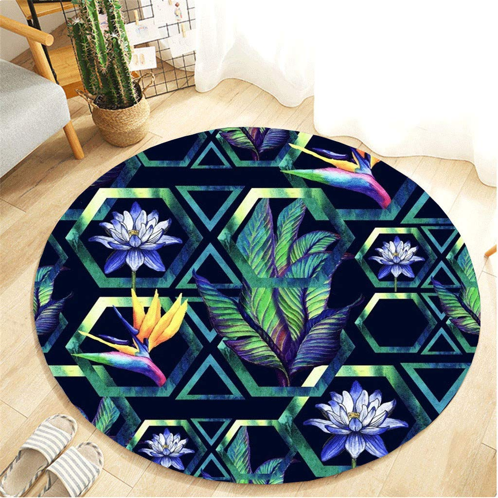 Tropical Palm Tree Leaves Non Slip Bath Rugs Absorbent Bathroom Rugs Kitchen Floor Mat Carpet-Green White Round Plant SeriesRound Area Rug 15.74 inches