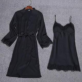 Boxer Briefs Women's Kimono Robe Long Dressing Gown Long Classic Satin Wedding Kimono Nightwear (Color : D, Size : XXL)