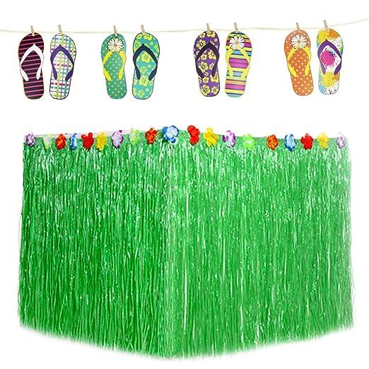 Hysagtek Luau Hawaiana Hibiscus verde falda de mesa y zapatillas ...