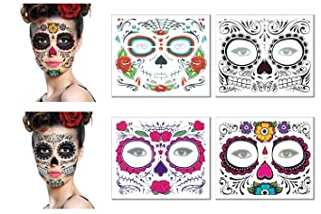 Amazoncom Day Of The Dead Face Tattoos Kit Sugar Skull Glitter